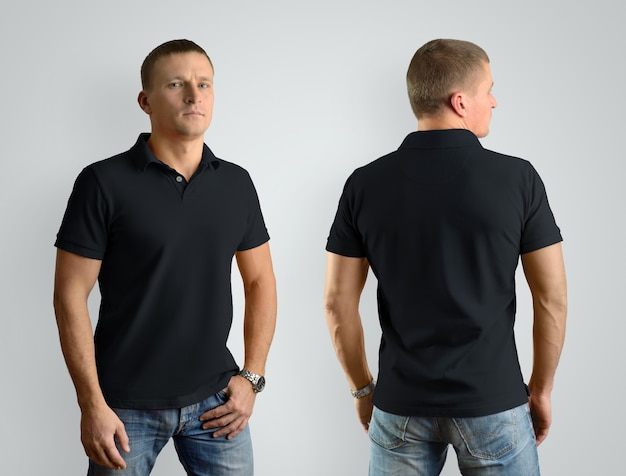 Black mockup  for the design of clothes  polo shirt. stylish man, front view and back. template can be used for your showcase.