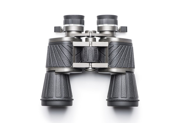 흰색 배경 위에 검은 현대 쌍안경