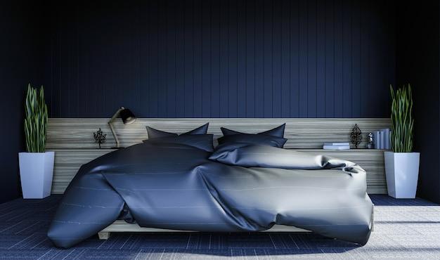 모의 벽에 복사 공간 검은 현대 현대 침실 인테리어