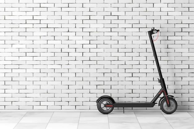 Черный современный самокат eco electric kick перед кирпичной стеной. 3d рендеринг