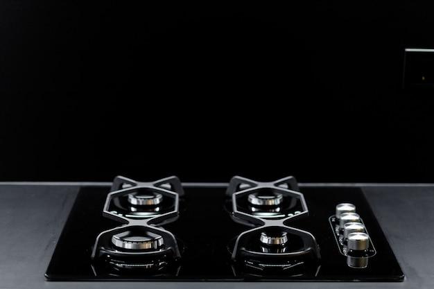 Black modern kitchen stove