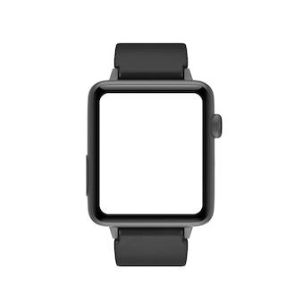 흰색 바탕에 디자인을 위한 스타프 및 빈 화면이 있는 검은색 현대적인 스마트 시계 모형. 3d 렌더링