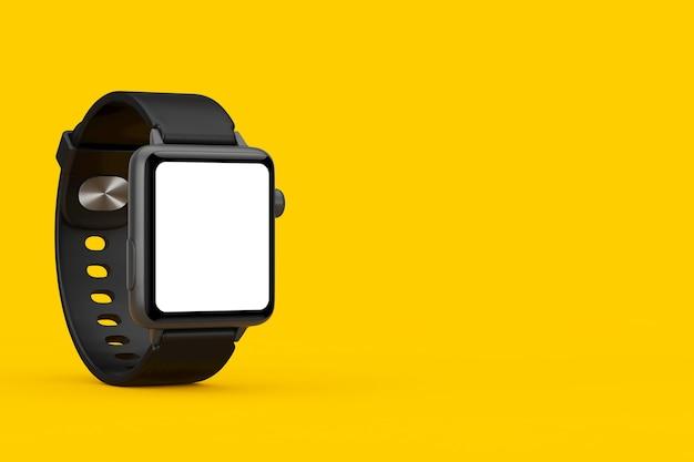 黄色の背景にあなたのデザインのためのスタープと空白の画面と黒のモダンなスマートウォッチのモックアップ。 3dレンダリング