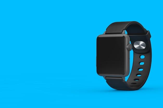 青い背景にあなたのデザインのためのストラップと空白の画面と黒のモダンなスマートウォッチのモックアップ。 3dレンダリング