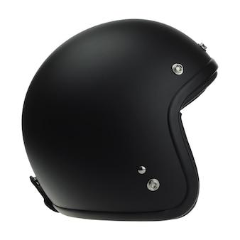 分離された黒いバイクの古典的なヘルメット