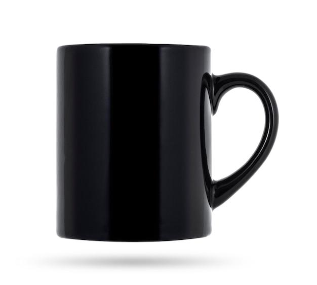 Black mug for coffee or tea isolated on white