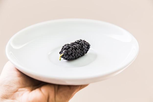 白いプレートに黒いmulberrie