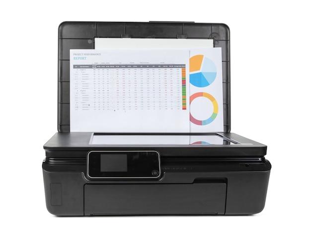 흰색 배경에 고립 된 블랙 다기능 프린터