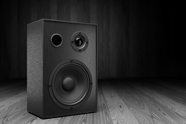 Black music speaker on a dark background. empty space for your design. 3d rendering.