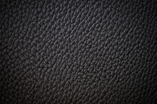 Black natural leather close-up background dark background texture black leather