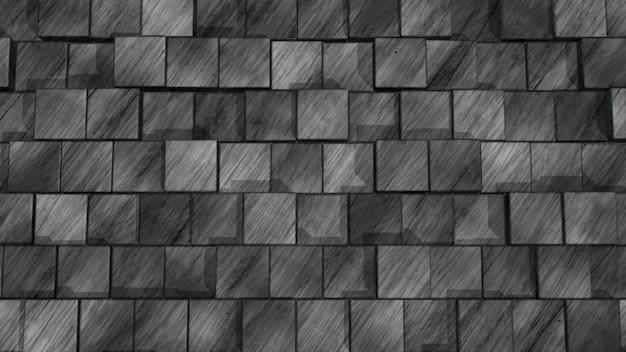 3d 벽을 만들기 위해 배열된 검은색 내츄럴 타일