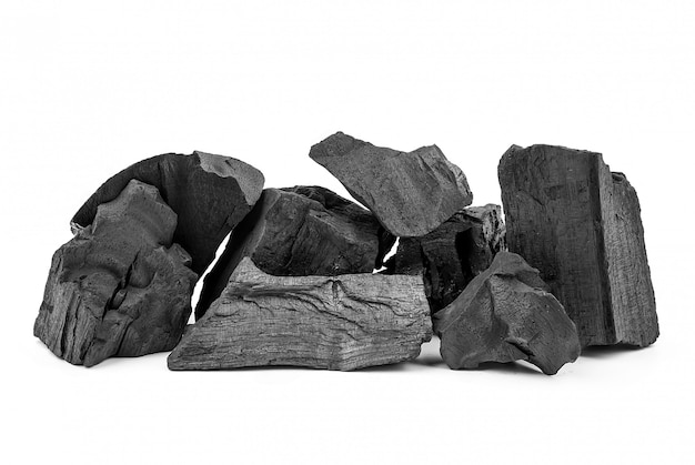 Black natural wooden charcoal.