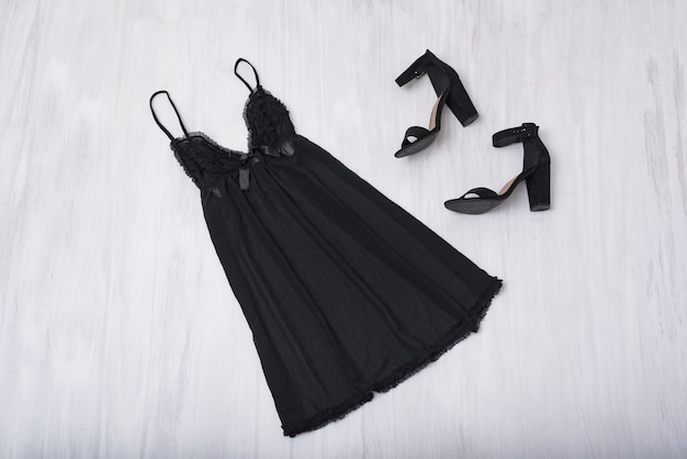 Black nightie and shoes