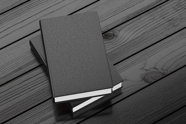 Black note book mockup on dark wooden table