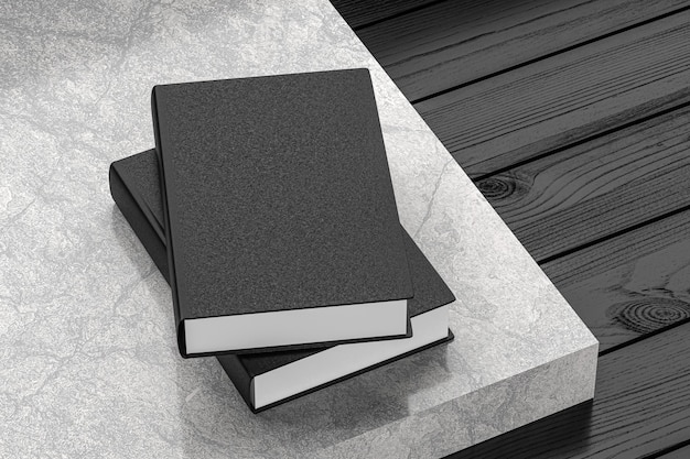 어두운 나무 테이블에 검은 참고 책 목업