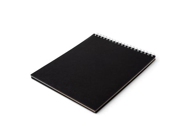 블랙 노트북 흰색 배경에 고립입니다.
