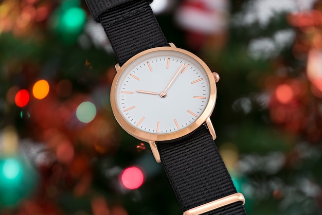 Black nylon strap wrist watch in christmas time
