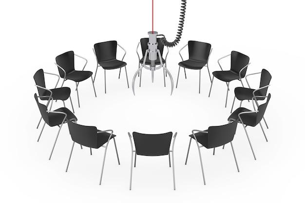 白い背景の上のクロムロボットの爪の周りの黒いオフィスチェア。 3dレンダリング