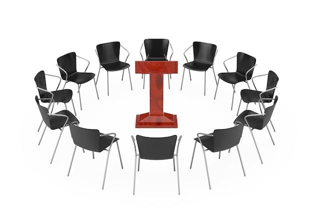 흰색 바탕에 붉은 나무 연설 트리뷴 주위에 검은 사무실의 자. 3d 렌더링