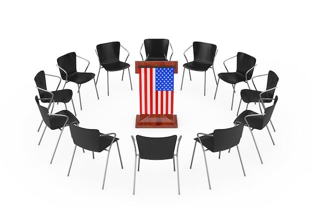 흰색 바탕에 미국 국기와 함께 나무 연설 트리뷴 주위에 검은 사무실의 자. 3d 렌더링