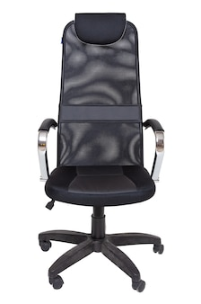 Black office fabric armchair on wheels isolated  , front view. modern furniture, interior, home design