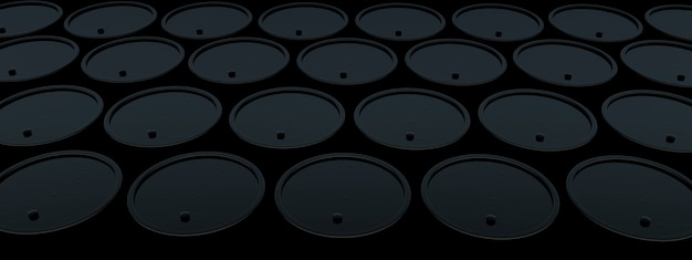 暗い背景に黒い石油バレル、3dレンダリング、パノラマ画像