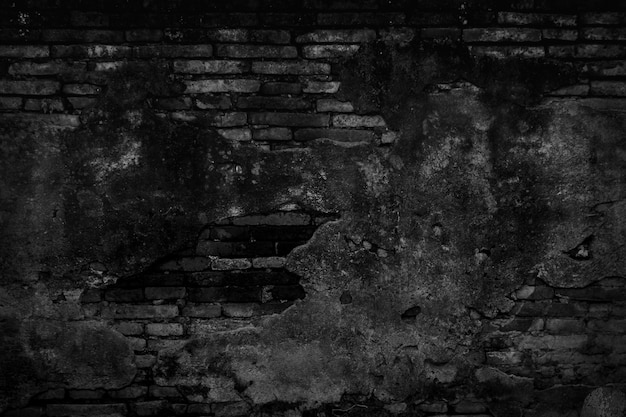 Black old brick wall texture background.