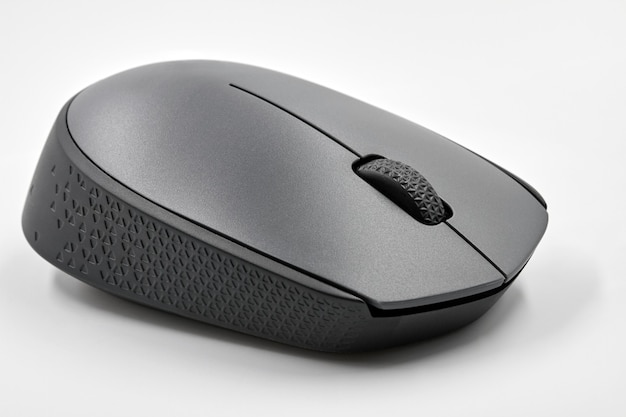 Black optical wireless computer mouse