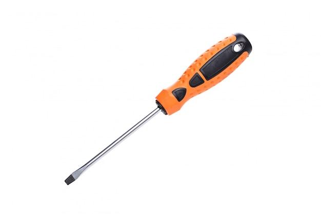 Black and orange screwdriver isolated on white background