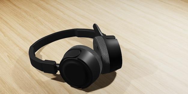 나무 테이블에 검은 귀 헤드폰. 3d 그림.