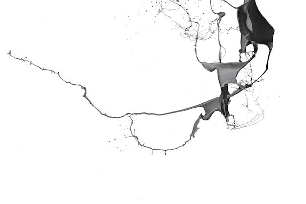 白い背景で隔離の黒いペンキのスプラッシュ
