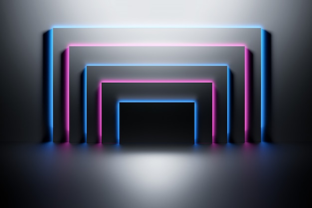 Black panels illuminated with neon blue and pink light over the dark shiny surface.