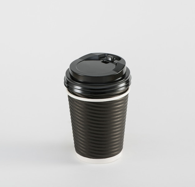 Black paper cup coffee  in takeaway  isolated on white background