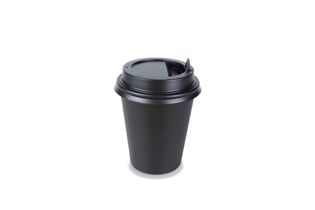 Black paper disposable takeout drink cup. isolated on white background