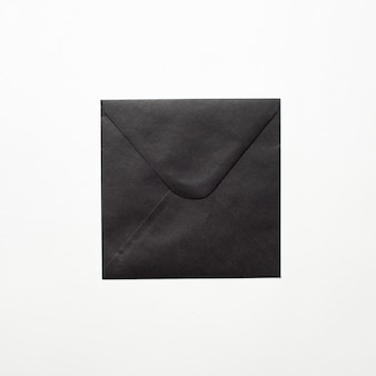 Black paper envelope document on white
