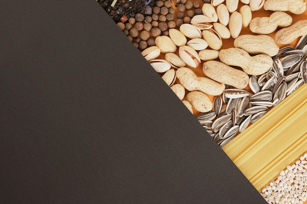 Black paper and food, ingredients mockup and space for text copy space top view