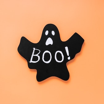 Black paper ghost with boo! inscription