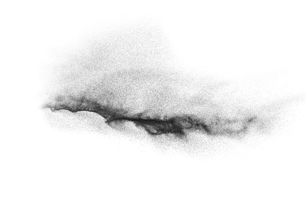 Black particles splatter on white background. black dust splash on white background.