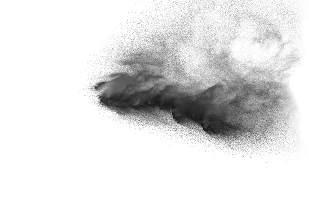 Black particles splatter on white background. black dust splash on white background.