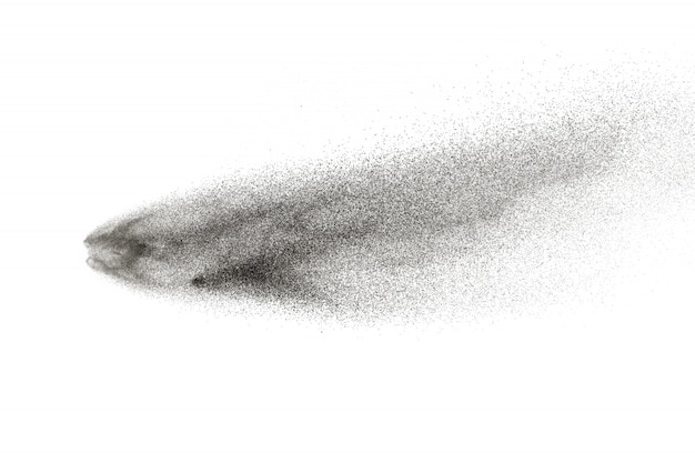 Black particles splattered on white background.