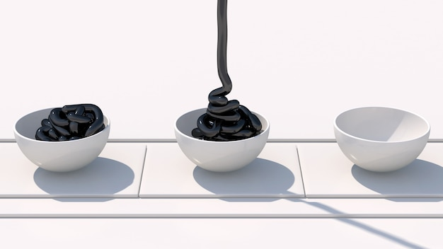 Черная паста и белые чаши. белый конвейер. абстрактная иллюстрация
