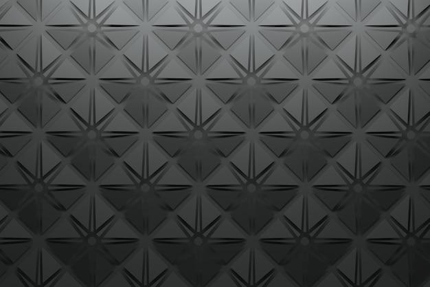 Черный узор с квадратными пирамидами и звездами