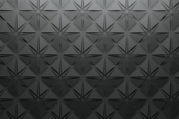 Black pattern with square pyramids and star shapes