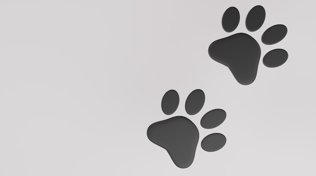 Черный отпечаток лапы на белом фоне. отпечаток лапы собаки или кошки