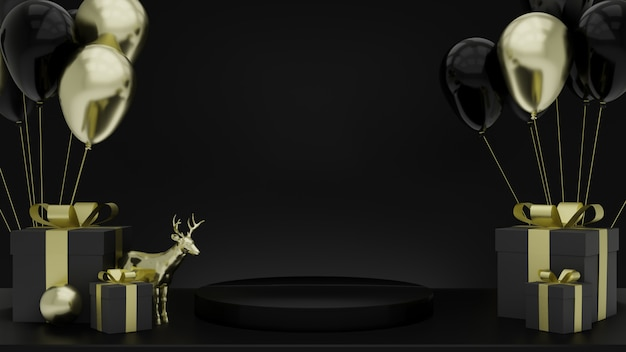 Black pedestal steps isolated on black, golden deer model with gift box and balloon, blank space, simple clean design, luxury minimalist mockup