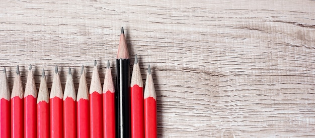 Black pencil different from crowd of red pencils. unique leader, strategy, independence, think different, business and success