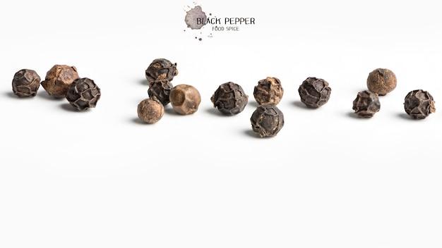 Семена черного перца на белом фоне