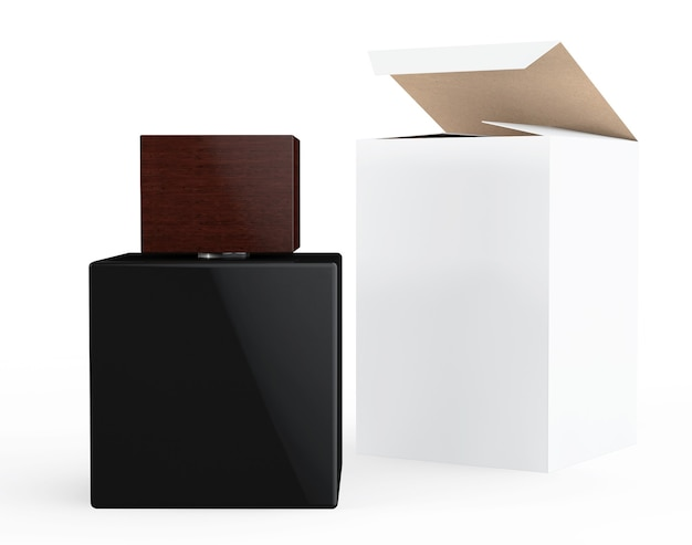 Черный флакон духов и пакет коробки на белом фоне