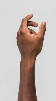 Black person holding hand up