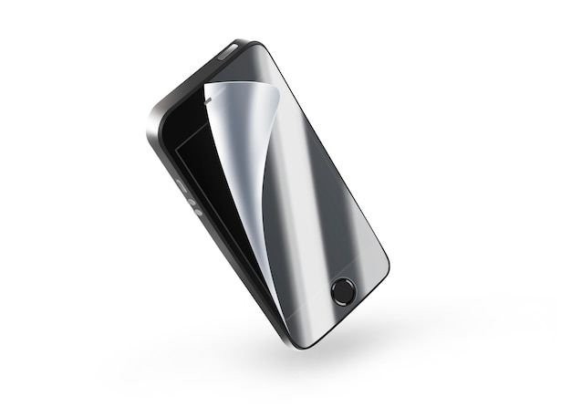 Black phone protection film on screen